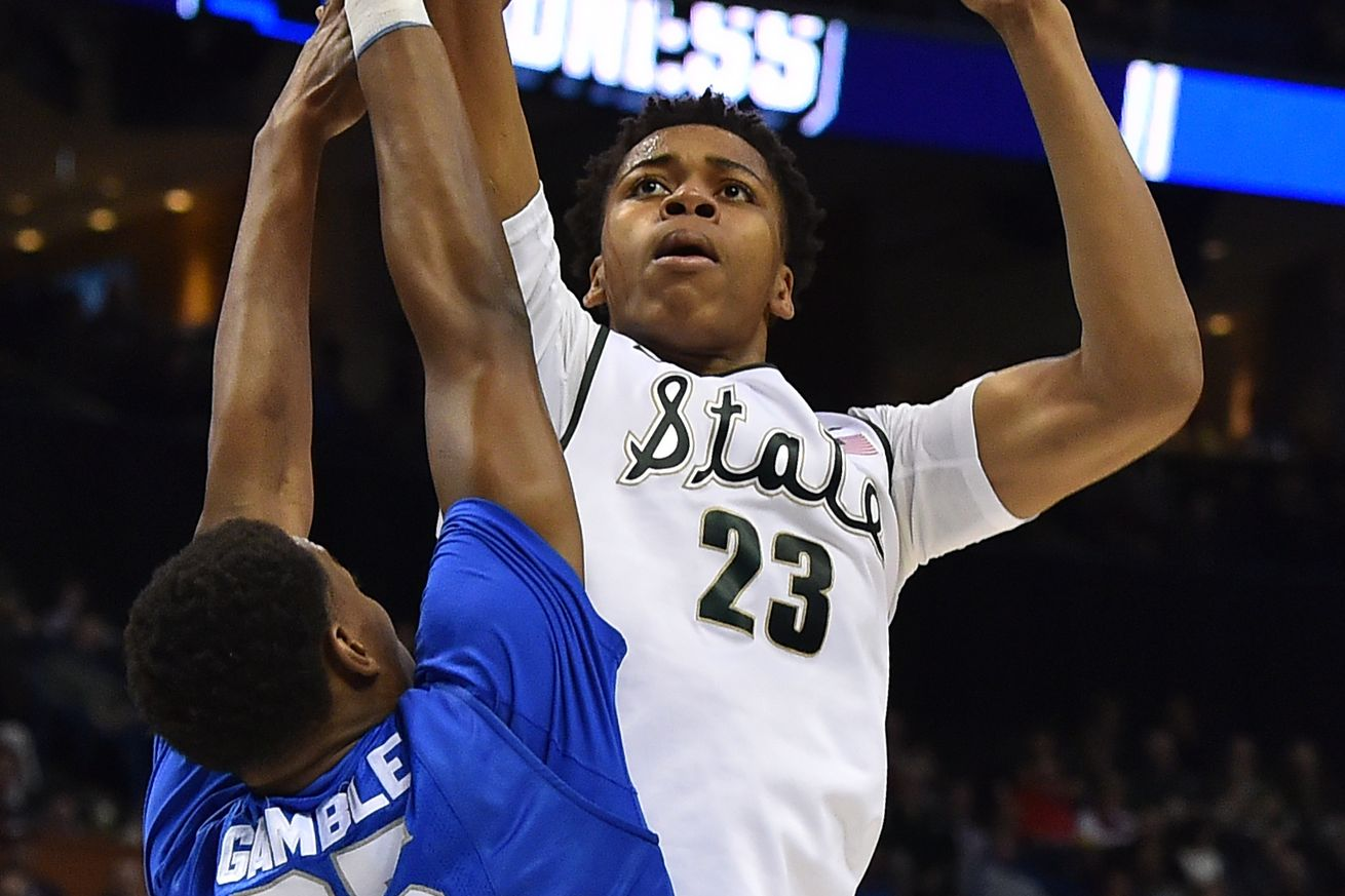 2015 Mr. Basketball Deyonta Davis is projected as a late lottery pick after one season at MSU.